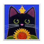 Black CAT, Sunflower, Yellow BIRD ART Tile