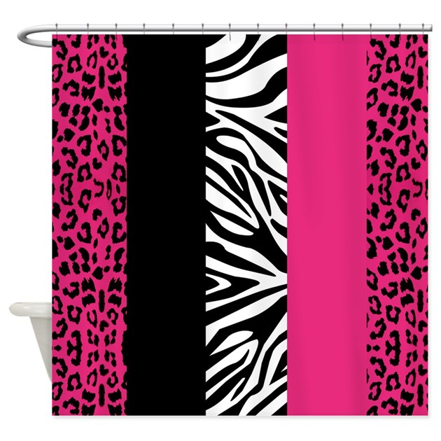 Hot Pink Zebra Bathroom Accessories: Hot Pink Animal Print Stripes Zebra Leopard Shower By