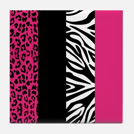 Hot Pink Animal Print Stripes Zebra Leopard Tile C