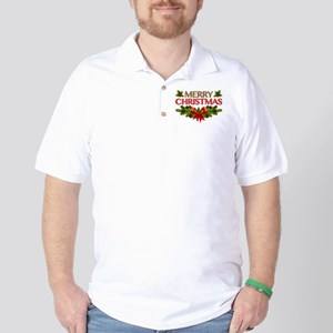 Merry Christmas Berries & Holly Golf Shirt