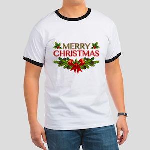 Merry Christmas Berries & Holly Ringer T