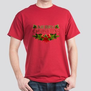 Merry Christmas Berries & Holly Dark T-Shirt