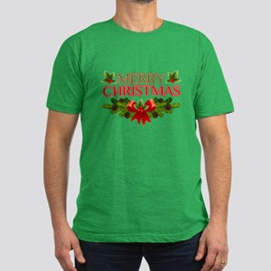 Merry Christmas Berries & Holly Men's Fitted T-Shi