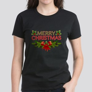 Merry Christmas Berries & Holly Women's Dark T-Shi