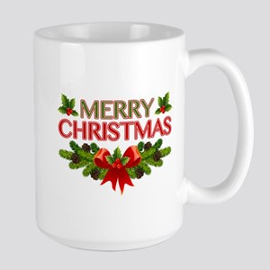 Merry Christmas Berries & Holly Large Mug