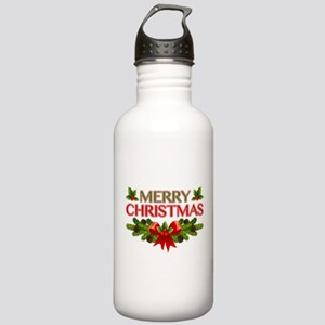 Merry Christmas Berries & Holly Stainless Water Bo