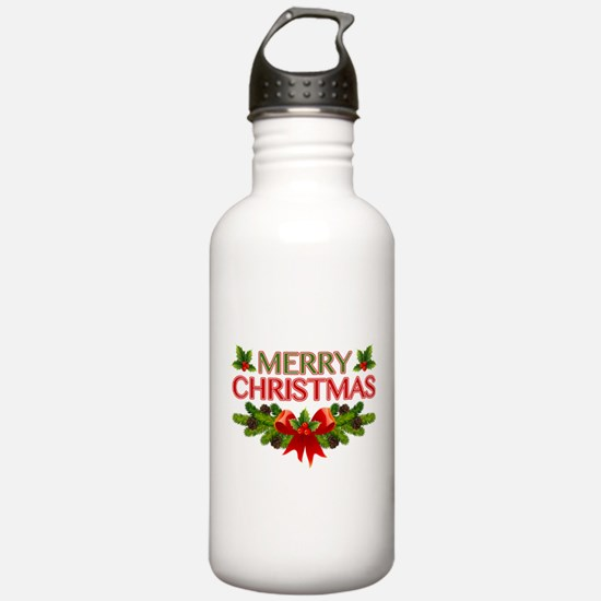 Merry Christmas Berries & Holly Water Bottle