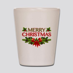 Merry Christmas Berries & Holly Shot Glass