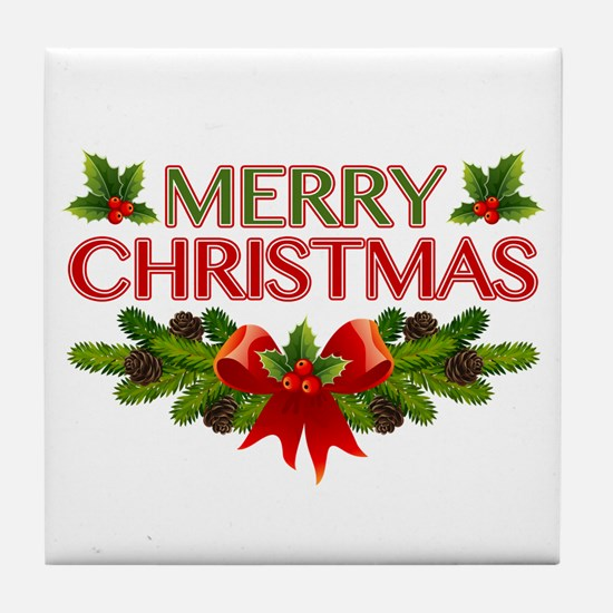 Merry Christmas Berries & Holly Tile Coaster