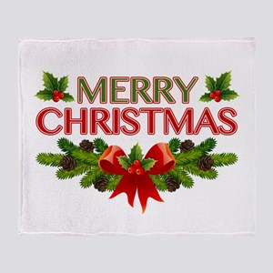 Merry Christmas Berries & Holly Throw Blanket
