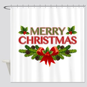 Merry Christmas Berries & Holly Shower Curtain