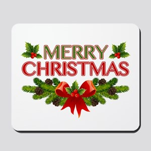 Merry Christmas Berries & Holly Mousepad