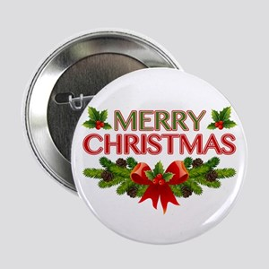 "Merry Christmas Berries & Holly 2.25"" Button"