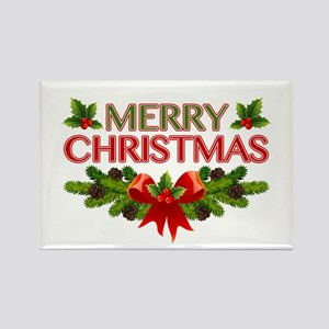 Merry Christmas Berries & Holly Rectangle Magnet