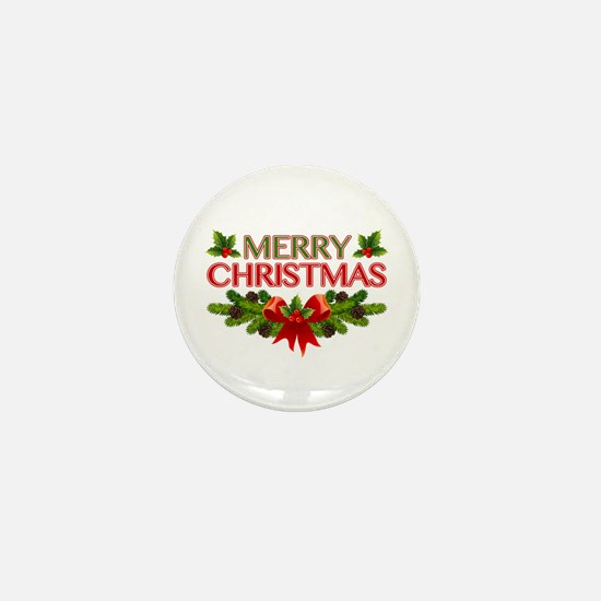 Merry Christmas Berries & Holly Mini Button