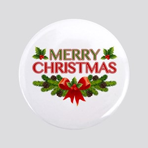 """Merry Christmas Berries & Holly 3.5"""" Button"""