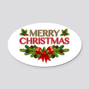 Merry Christmas Berries & Holly Oval Car Magnet