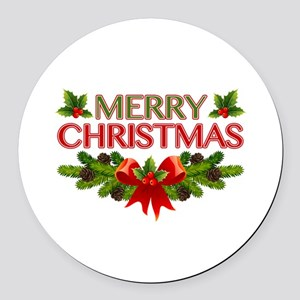 Merry Christmas Berries & Holly Round Car Magnet