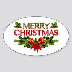 Merry Christmas Berries & Holly Sticker (Oval)