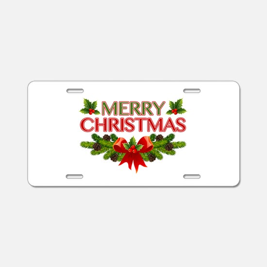 Merry Christmas Berries & Holly Aluminum License P