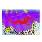 Red Mermaid Postcards (Pack of 8)