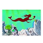Green Mermaid Postcards (Pack of 8)