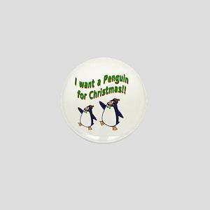 Christmas Penguin Mini Button