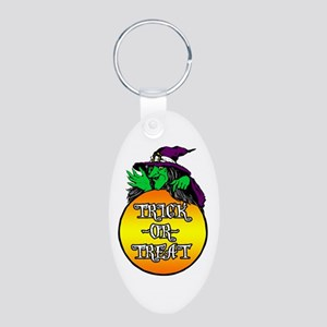 Witch Trick Or Treat Aluminum Oval Keychain