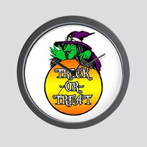 Witch Trick Or Treat Wall Clock