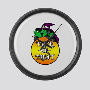 Witch Trick Or Treat Large Wall Clock