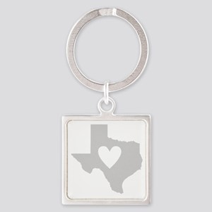 Heart Texas Square Keychain