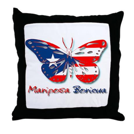 Mariposa Boricua Throw Pillow