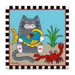 Tabby Cat, Fish Crab Tile Coaster