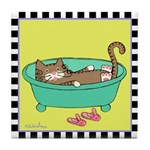 Tan Tabby Cat in a Bathtub Tile Coaster