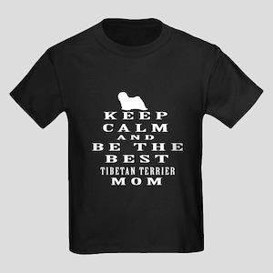 Keep Calm Tibetan Terrier Designs Kids Dark T-Shir