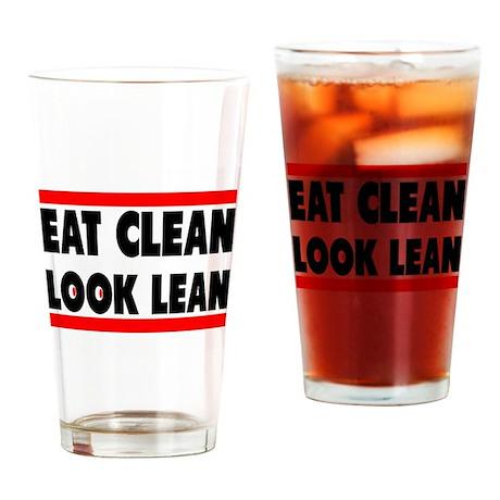 Eat Clean Look Lean   Fitness Slogan Drinking Glas