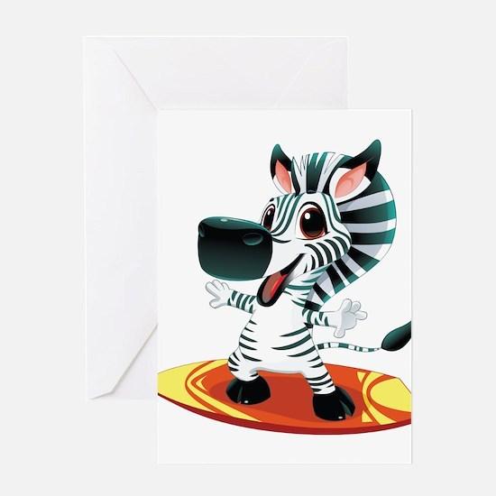 Surfing Zebra Greeting Card
