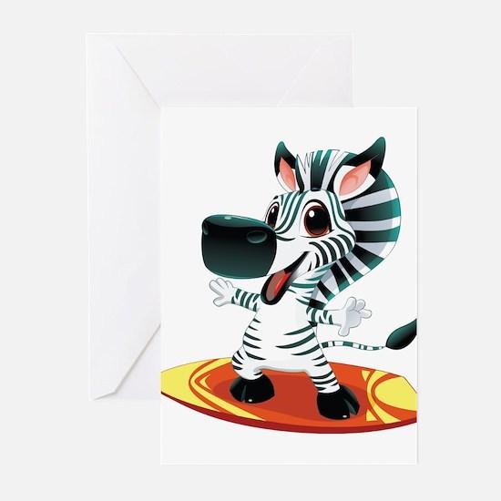 Surfing Zebra Greeting Cards (Pk of 10)