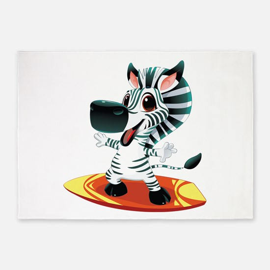 Surfing Zebra 5'x7'Area Rug