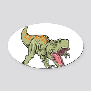 Screaming Dinosaur Oval Car Magnet