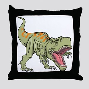 Screaming Dinosaur Throw Pillow