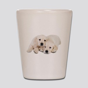 White Labradors Shot Glass