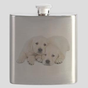 White Labradors Flask