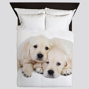 White Labradors Queen Duvet