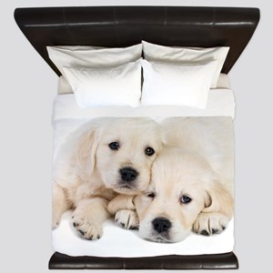 White Labradors King Duvet