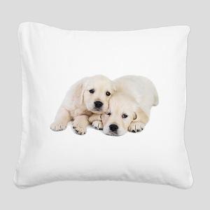 White Labradors Square Canvas Pillow