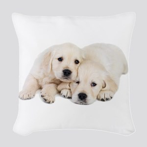 White Labradors Woven Throw Pillow