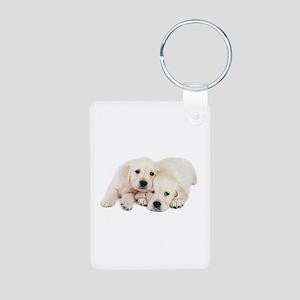 White Labradors Aluminum Photo Keychain