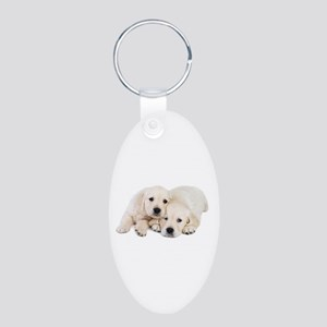 White Labradors Aluminum Oval Keychain
