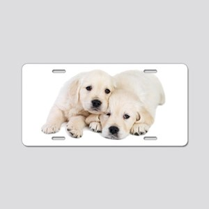 White Labradors Aluminum License Plate